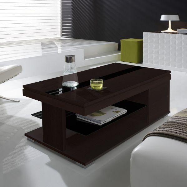 Table basse relevable weng et verre noir meuble for Table basse noir en verre