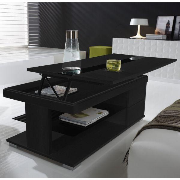 Table basse relevable bois gris et verre noir meuble for Table basse noir et bois