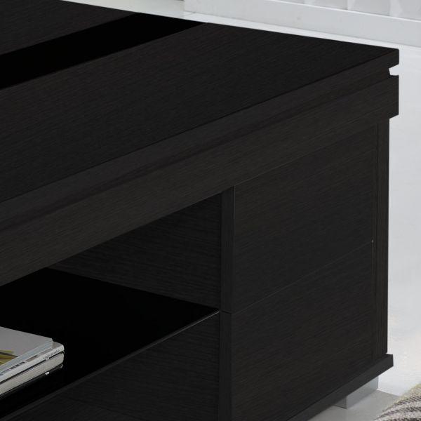 Table basse relevable bois grisé et verre noir meuble