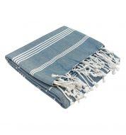 Fouta blanche et bleue océan coton bio Karawan