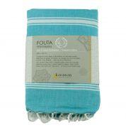 Fouta blanche et bleue turquoise coton bio Karawan