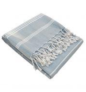 Fouta blanche et gris claire coton bio 100x50 cm