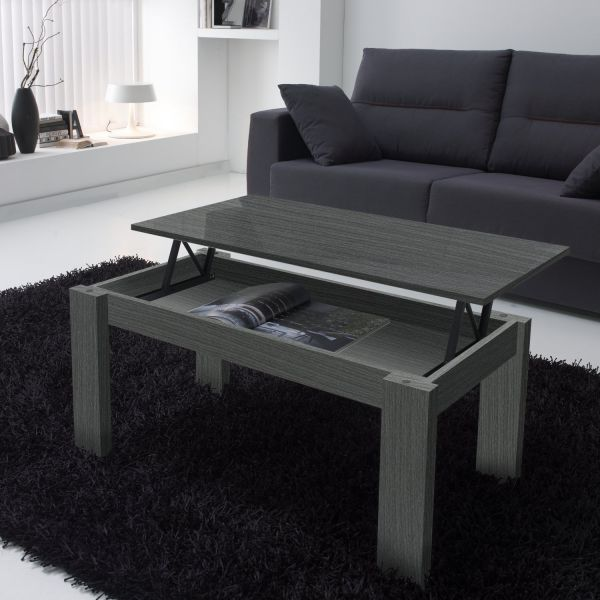 table basse relevable grise veinage bois rectangulaire. Black Bedroom Furniture Sets. Home Design Ideas