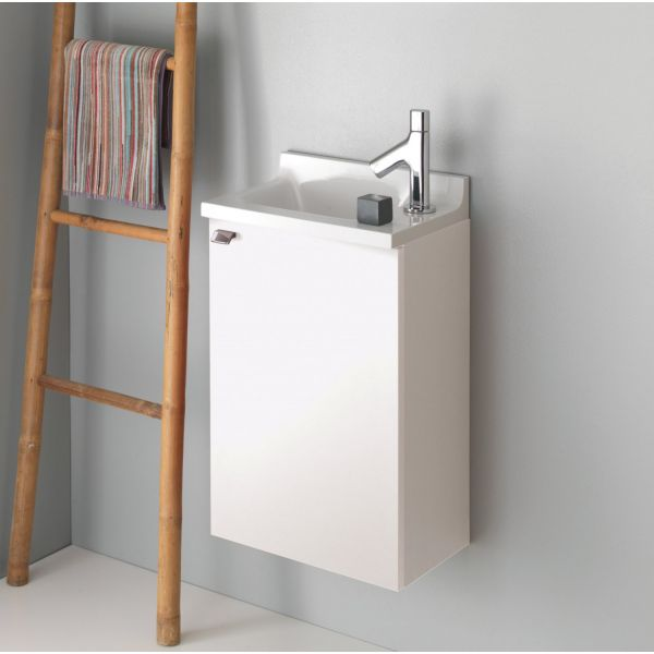 Meuble lave main sanijura pop laqu blanc brillant salle for Meuble lave main toilette
