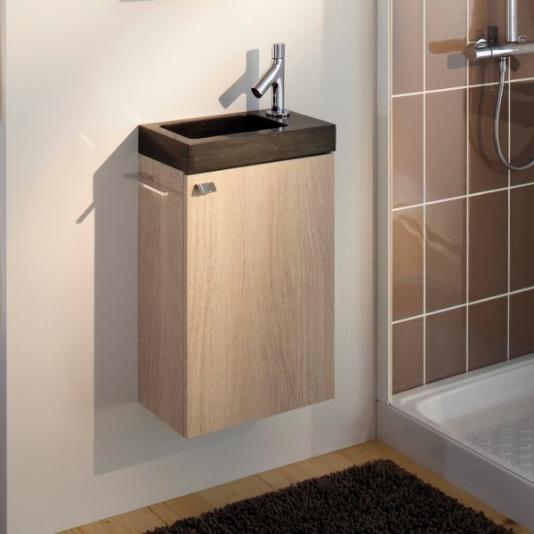 Meuble lave main sanijura pop naturel sukupira blanc - Petit meuble vasque wc ...