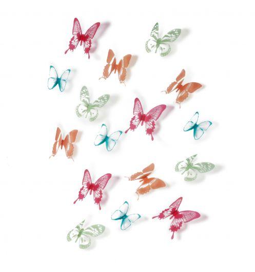 D coration papillon multicouleurs d coration umbra for Decoration murale papillon