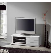Meuble TV laqué blanc placage chêne