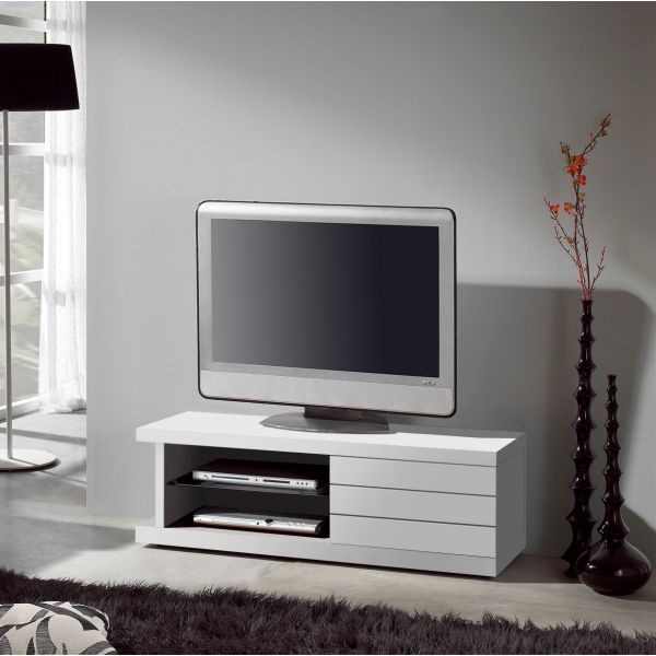 Meuble tv laqu blanc placage ch ne for Meuble de tv blanc