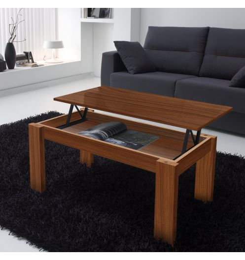table basse relevable finition noyer rectangulaire. Black Bedroom Furniture Sets. Home Design Ideas