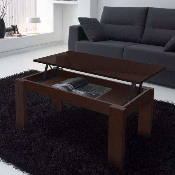 Table basse relevable weng rectangulaire for Table basse relevable wenge