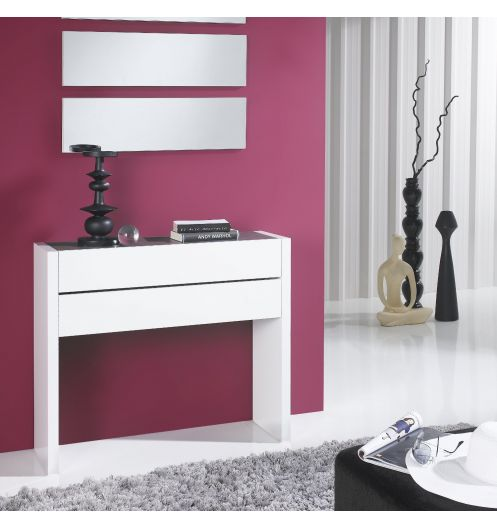 meuble console placage blanc 2 tiroirs. Black Bedroom Furniture Sets. Home Design Ideas