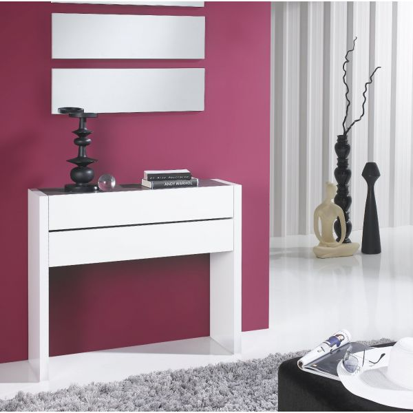 Meuble console placage blanc 2 tiroirs for Console meuble design