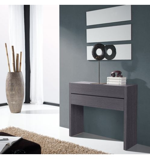 meuble console placage bois gris 2 tiroirs. Black Bedroom Furniture Sets. Home Design Ideas