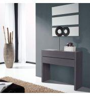 Meuble console placage bois gris 2 tiroirs