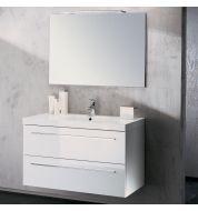 Meuble vasque salle de bain Sanijura Horizon laqué blanc 105 cm