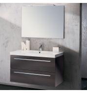 Meuble vasque salle de bain Sanijura Horizon plaqué chêne noir 105 cm