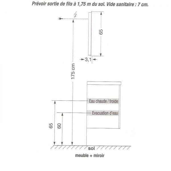 Meuble vasque salle de bain sanijura horizon laqu blanc for Meuble salle de bain dimension
