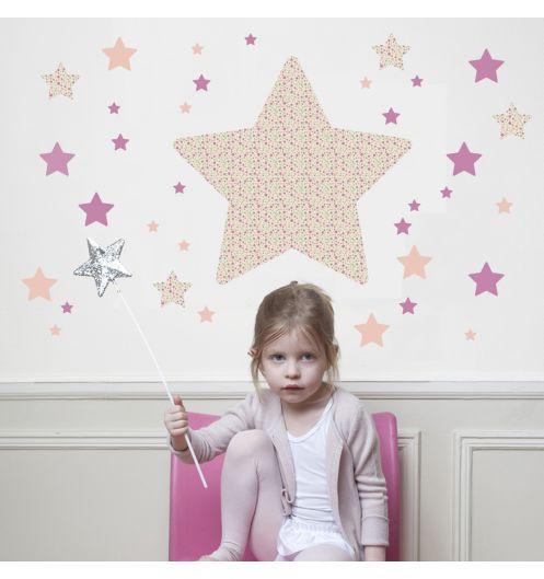 Stickers enfant rose  stickers chambre fille étoile