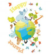 Stickers enfant Happy planet XXL