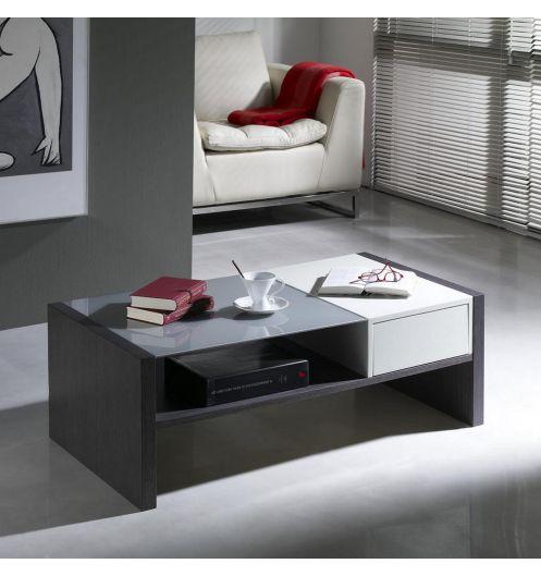 en soldes 9d66c 3a028 Table basse rectangulaire bicolore Wengé et laquée blanche