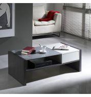 Table basse rectangulaire bicolore Wengé et laquée blanche