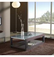 Table basse rectangulaire bois wengé et plateau verre