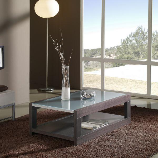 Table basse rectangulaire d co et saveurs - Table basse wenge et verre ...