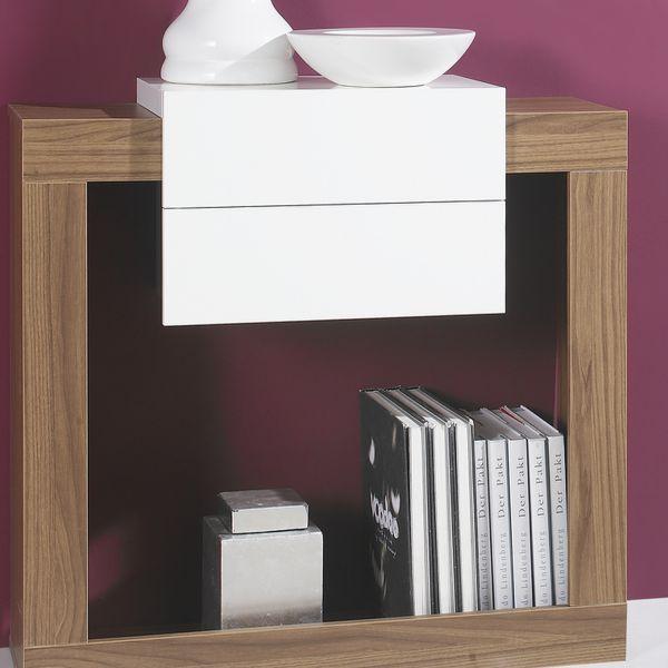 Meuble console bois noyer meuble d 39 entr e for Meuble stratifie ou melamine