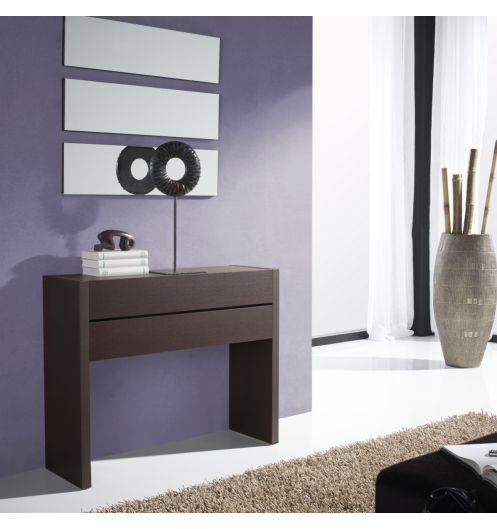 Meuble console plaquage bois weng 2 tiroirs meuble d 39 entr e - Console but meuble ...