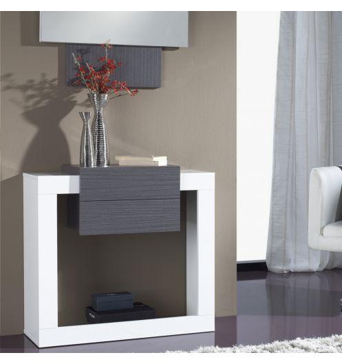 Meuble console plaquage bois cendr for Meuble console design