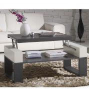 Table basse relevable bois cendré et laqué blanc