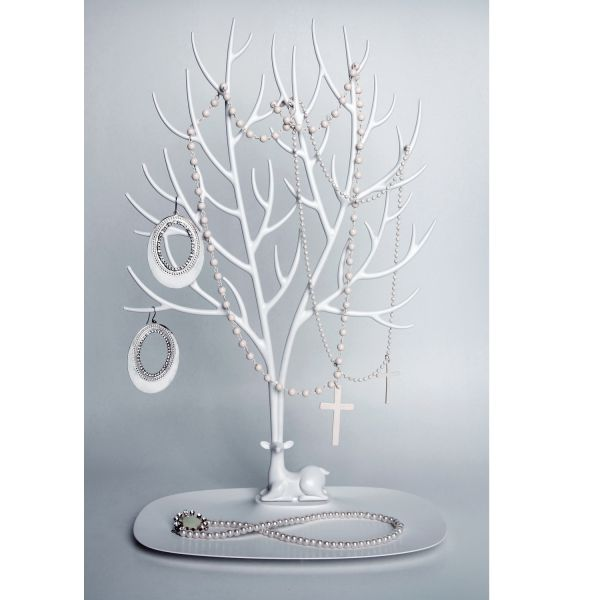 porte bijoux blanc cerf porte collier qualy. Black Bedroom Furniture Sets. Home Design Ideas