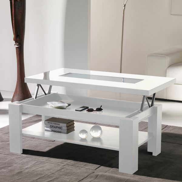 Table basse relevable table salon - Table basse relevable blanc laque ...