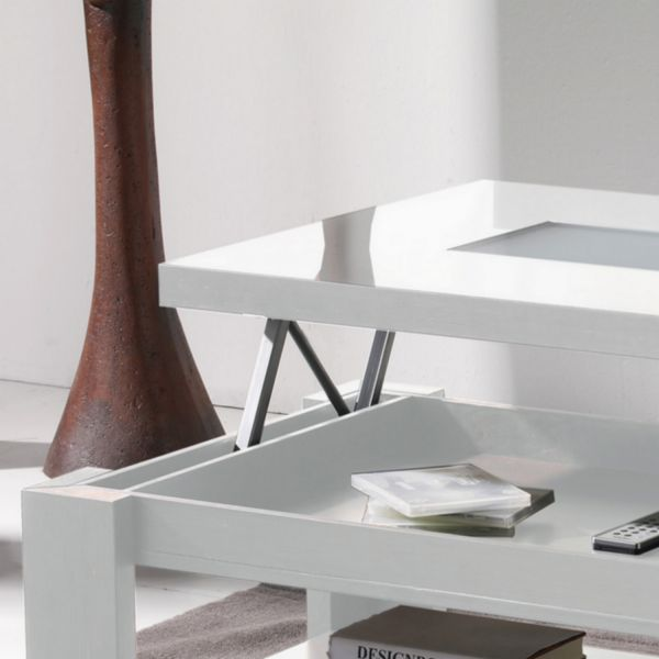 Table basse relevable table salon - Table basse laquee blanc ...