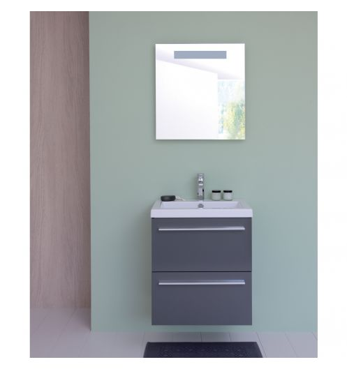 Meuble salle de bain mobilier - Meuble salle de bain gris laque ...