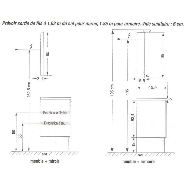 Meuble salle de bain mobilier for Dimension meuble sdb