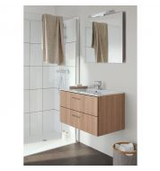 Meuble vasque salle de bain double tiroir bois merisier