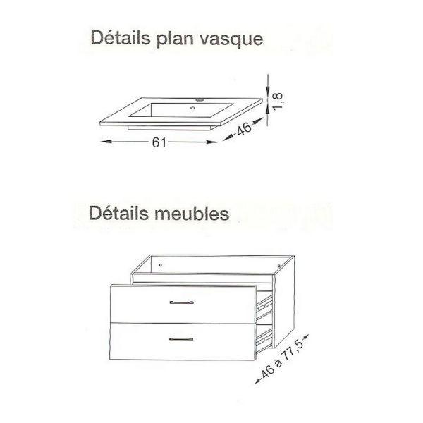 Awesome meuble double vasque salle de bain dimension for Dimension meuble vasque salle de bain