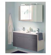 Ensemble salle de bain Meuble vasque gris et armoire de toilette (120cm)