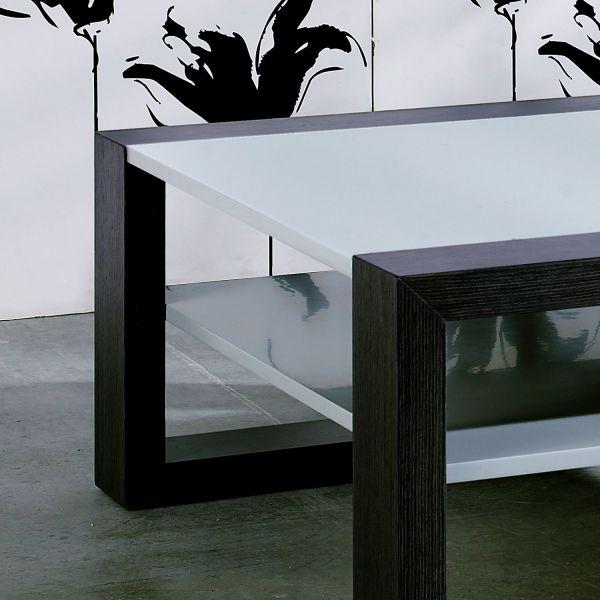 Table basse carr bicolore marron fonc et gris clair - Table basse marron ...