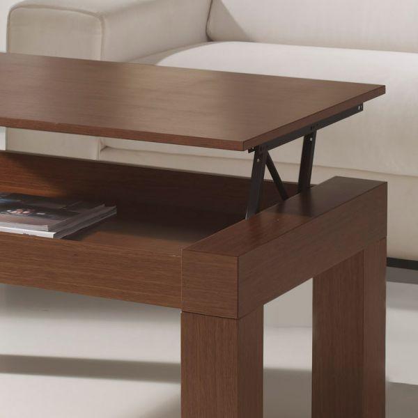 Table basse relevable rectangulaire marron - Table basse marron ...