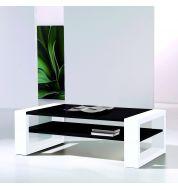 Table basse rectangulaire blanche et noire laquée