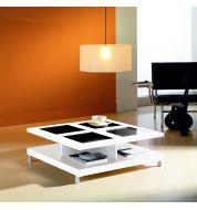 Table basse carré blanche verre et laquée