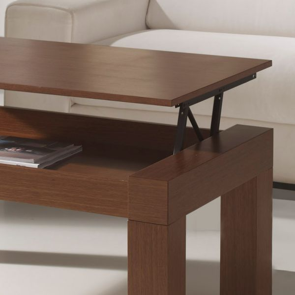 table basse relevable marron plateau de verre. Black Bedroom Furniture Sets. Home Design Ideas