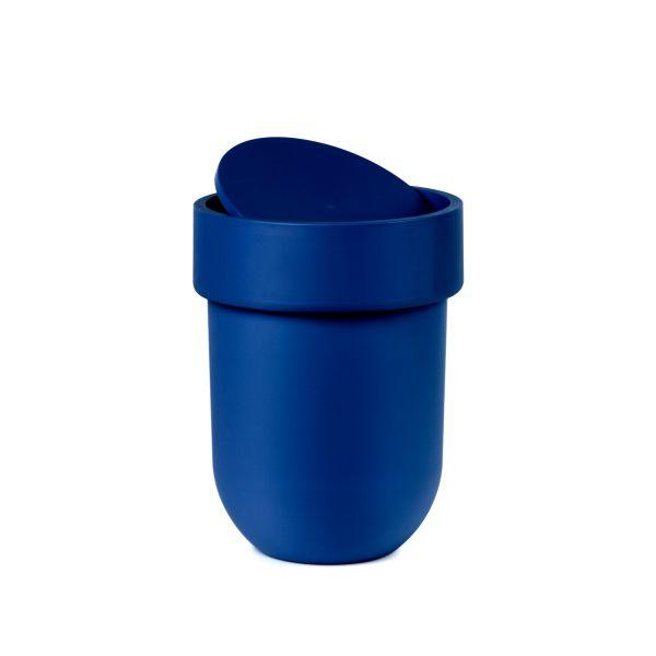 Poubelle salle de bain bleue avec couvercle rangement - Poubelle de salle de bain design ...