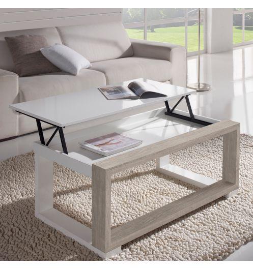 chaussures de sport cc239 6df4c Table basse Relevable chêne blanchi