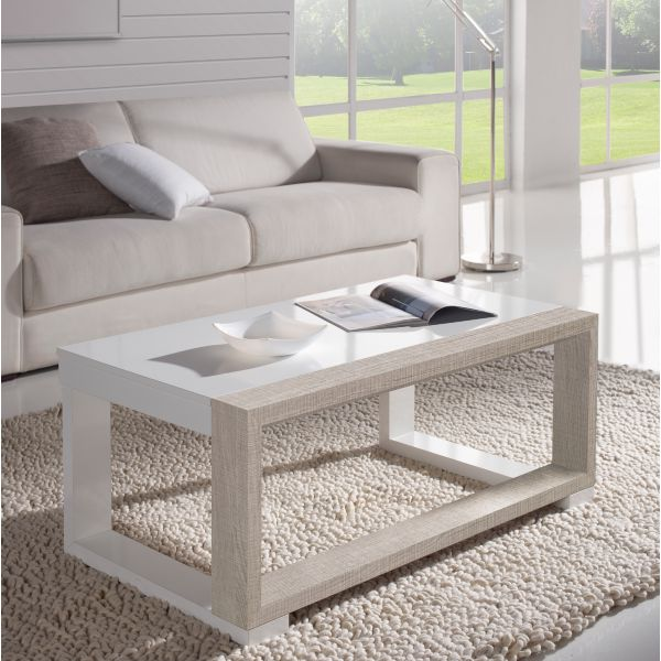 Table basse relevable bois blanchi et blanc mobilier for Table basse chene blanchi
