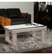 Table basse Relevable Blanc et Chêne blanchi