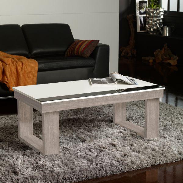table basse relevable plateau blanc et pied ch ne blanchi meuble. Black Bedroom Furniture Sets. Home Design Ideas