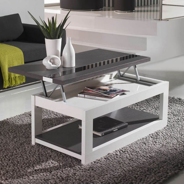 table basse relevable plateau ch ne blanchi et pied blanc. Black Bedroom Furniture Sets. Home Design Ideas